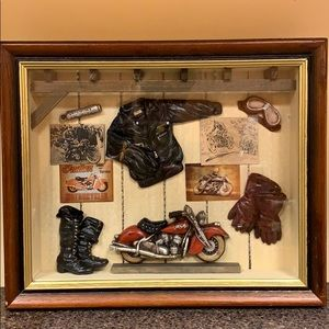 "INDIAN motorcycle wood shadowbox 11""Hx13.5""Wx2.5""D"
